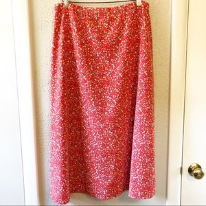 Christopher & Banks Skirts - Christopher & Banks Red Floral Print Midi Skirt